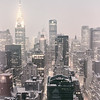 New York City - Snow Covered Skyline and the Chrysler Building at Dawn on a Winter Morning