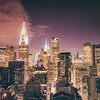 New York City Skyline and Chrysler Building - Night - Facing West